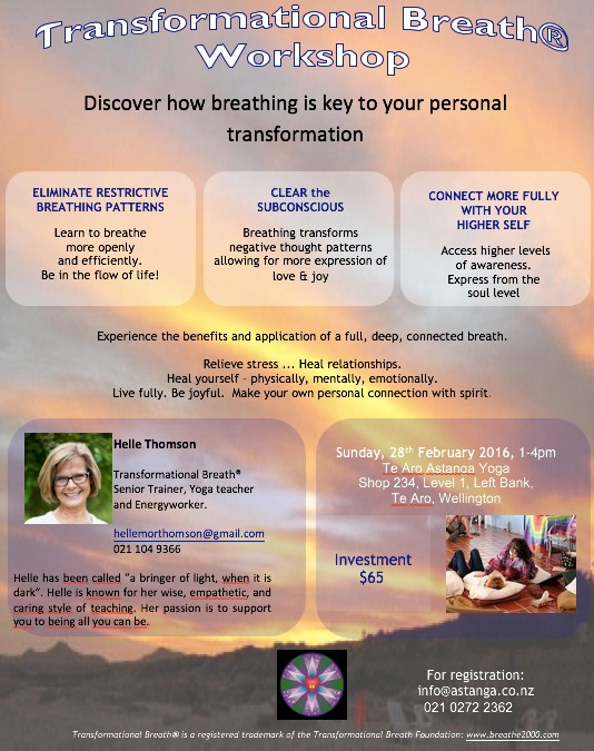 Transformational Breath Workshop 1-4 pm Sun. 28th Feb.